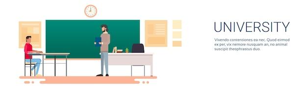 Student answer over chalkboard plano de educação da universidade