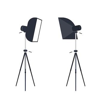 Studio photo ring light isolado no fundo branco