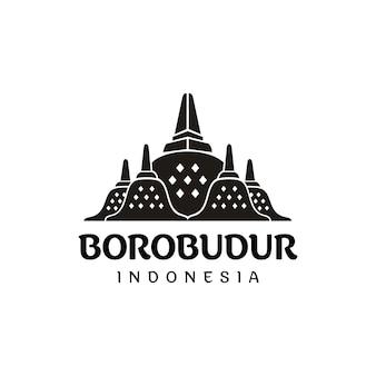 Stupa de templo de pedra de borobudur, logotipo da silhueta da herança indonésia