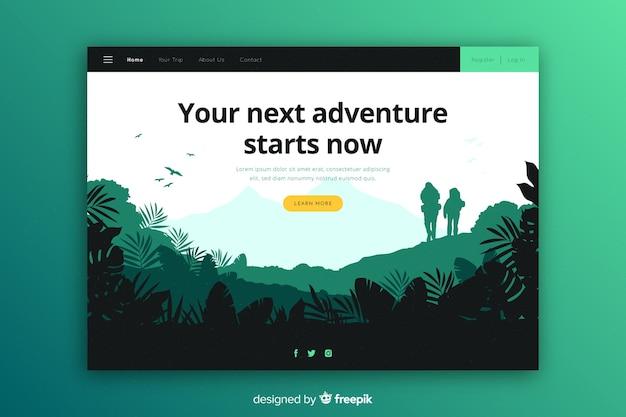 Sua próxima aventura começa na página de destino