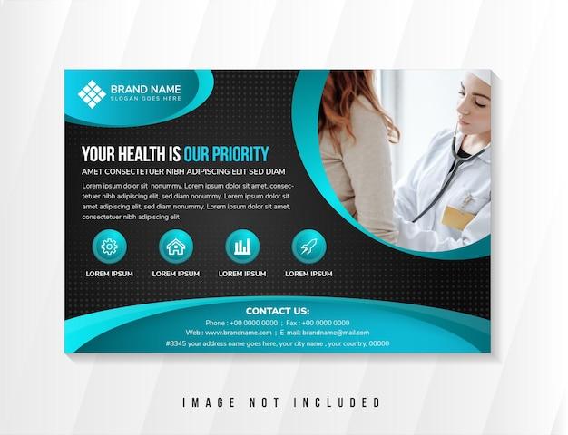 Sua saúde é a nossa prioridade. modelo de design de panfleto usar layout horizontal fundo gradiente preto