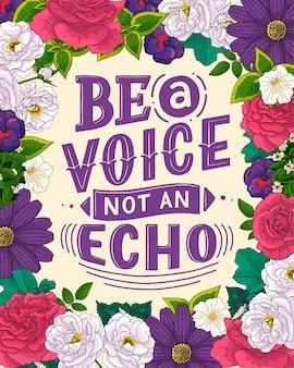 Sua voz importa letras de citação abstratas