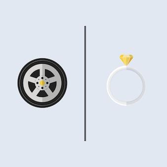 Suas e suas coisas, uma roda de carro de corrida e anel de diamante amarelo.