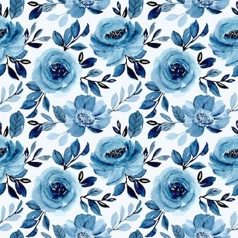 Suave azul aquarela floral padrão sem emenda