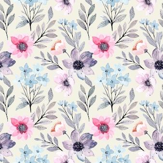 Suave azul roxo floral aquarela sem costura padrão
