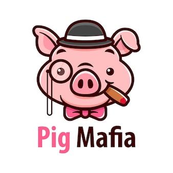 Suavilhoso porco usando chapéu e fumando uma ilustração dos desenhos animados de chigarete