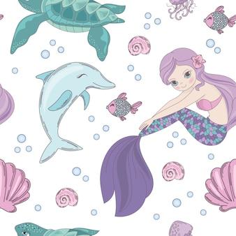 Subaquático, mundo, sereia, seamless, padrão