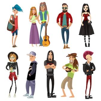 Subculturas pessoas em estilo cartoon