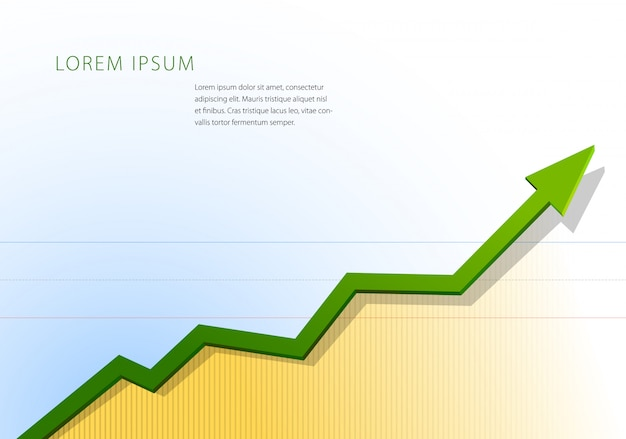 Subindo gráficos de seta. modelo de gráfico financeiro ou estatístico.