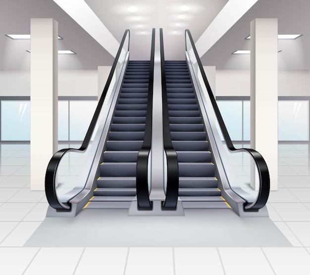 Subir e descer escadas rolantes no interior do conceito de construção