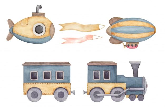 Submarino amarelo, dirigível listrado com fita, trem, ilustração infantil em aquarela para design de quarto infantil, cartões postais, adesivos