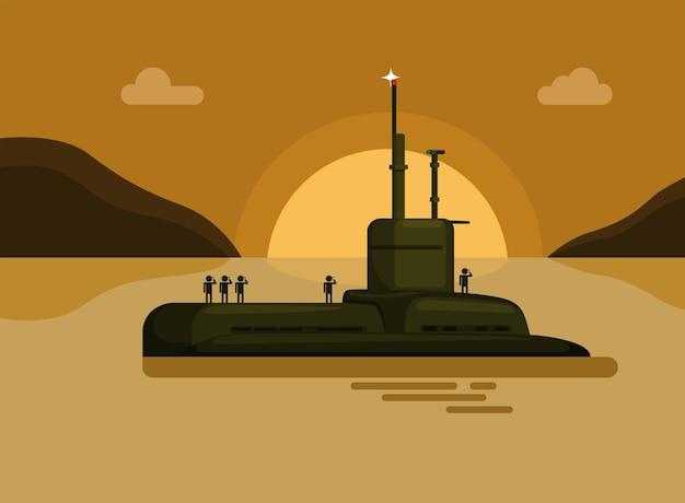 Submarino com ilustração dos desenhos animados do soldado da marinha, ilha do mar, pôr do sol, navio de guerra militar