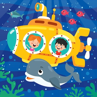 Submarino de desenho animado no fundo do mar
