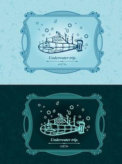 Submarino navegando sob a água, viagem marítima subaquática, modelo de ornamento vintage.