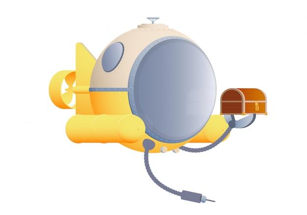 Submarino plana dos desenhos animados com o peito.