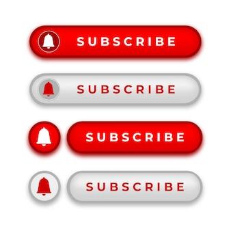 Subscrever coleção de botões com estilo brilhante