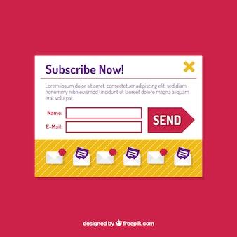 Subscrição pop-up modelo com design plano