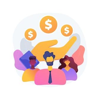 Subsídio de salário para ilustração em vetor conceito abstrato de empregados de negócios. apoio às pequenas e médias empresas, manutenção dos funcionários na folha de pagamento, dispensa da crise do covid19, metáfora abstrata do desemprego.