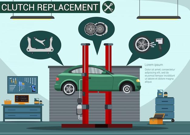 Substituição da embreagem no serviço de carro. estação de serviço. peças automotivas