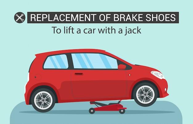 Substituição de sapatas de freio. levante o carro vermelho com jake.