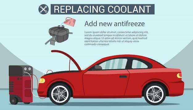 Substituindo líquido refrigerante. adicionar anticongelante no veículo vermelho.