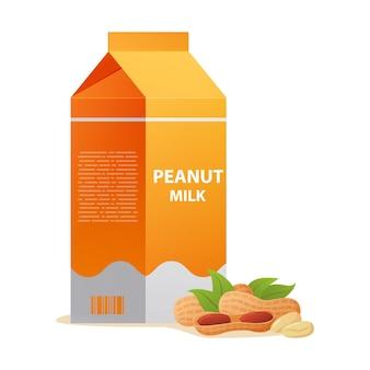 Substitutos sem laticínios leite de amendoim em caixa de papelão. bebida vegetal para veganos e vegetarianos.