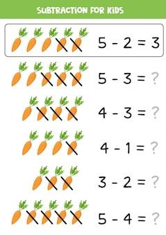 Subtração com cenouras dos desenhos animados. jogo de matemática para crianças.