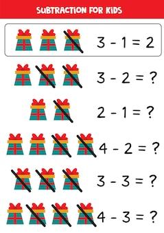 Subtração com desenhos animados presentes de natal. jogo educativo de matemática para crianças.