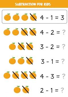 Subtração para crianças com laranjas bonito dos desenhos animados