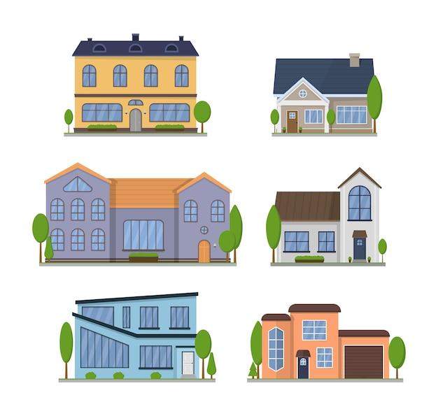 Suburban americano abriga vista frontal de design plano externo com telhado e algumas árvores. apartamento em moradia geminada.