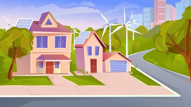 Subúrbio com ilustração em estilo cartoon plana de energia verde de fundo da web