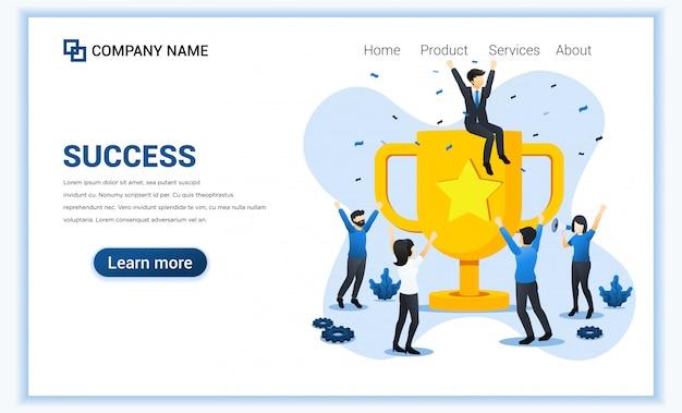 Sucesso da equipe de negócios. pessoas comemorando sucesso com o troféu de ouro gigante. realização, parceria, liderança.