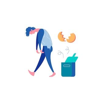 Sucesso de fracasso perdedor ganhando composição de empresários com ilustração vetorial de homem desanimado e casca de ovo quebrada