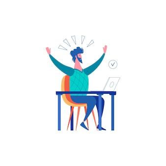 Sucesso de fracasso perdedor vencendo composição de empresários com homem feliz sentado à mesa com laptop