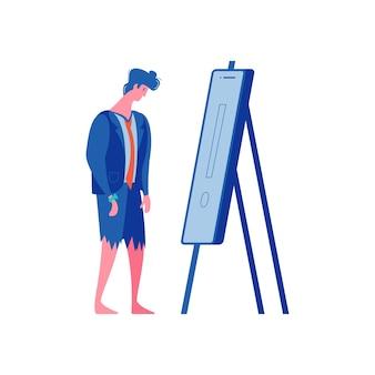 Sucesso de fracasso perdedor vencendo composição de empresários com personagem masculino olhando para cavalete com ponto de exclamação
