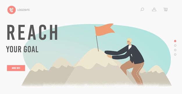 Sucesso de liderança, realização de meta, modelo de página inicial de coragem. personagem de empresário subindo em high rock com a bandeira no pico, superando obstáculos, com o objetivo de chegar ao topo. ilustração em vetor de desenho animado