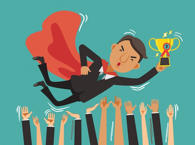 Sucesso do empresário em cima de triunfalmente