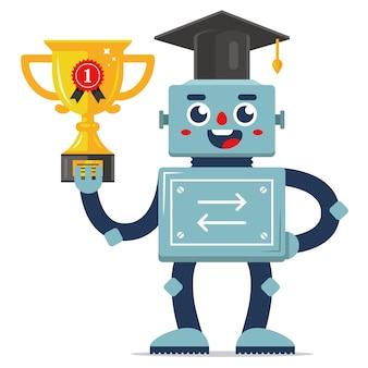 Sucesso do robô na competição. mecanismo de auto-aprendizagem. educação na escola.