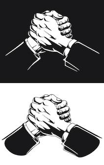 Sucesso do trabalho em equipe da silhueta soul hand shake
