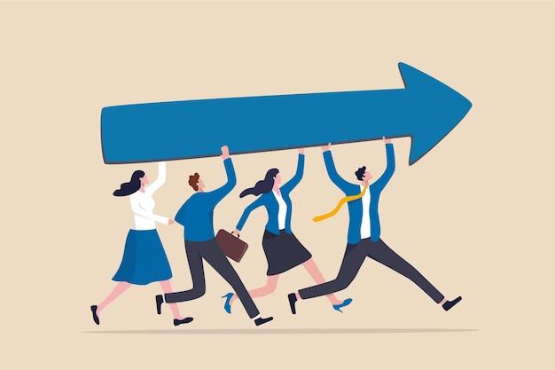 Sucesso e melhoria da equipe, compartilhando o mesmo objetivo e direção de negócios, apoio e parceria para o conceito de crescimento de carreira, empresário e trabalho em equipe de mulher ajudam a transportar grande crescimento subindo o gráfico de seta.