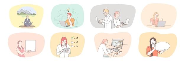 Sucesso empresarial brainstorming meditação comunicação trabalho em equipe