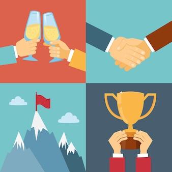 Sucesso empresarial, liderança e ilustração vetorial de vitória em estilo simples