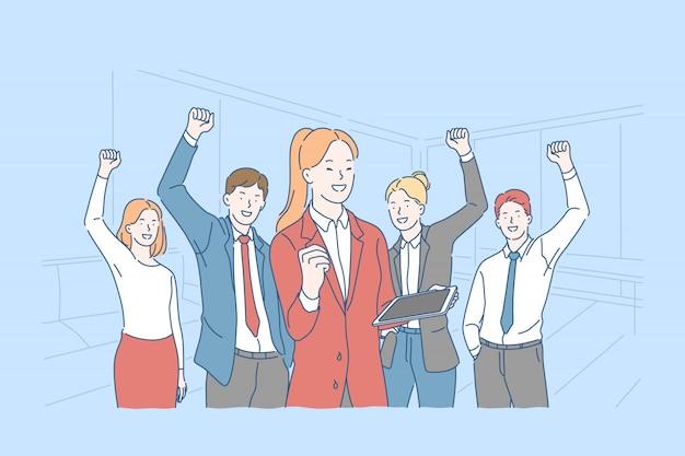Sucesso, motivação, conceito de trabalho em equipe