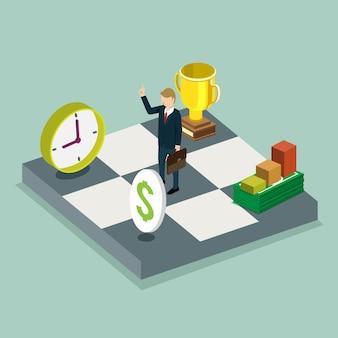 Sucesso no conceito isométrico de trabalho de negócios