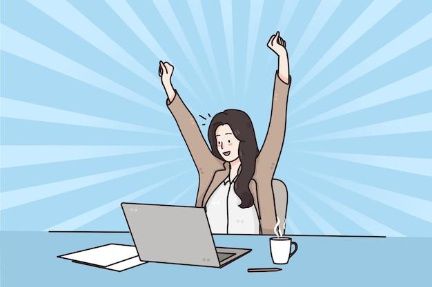 Sucesso nos negócios celebrando o conceito de ganhar emoções positivas