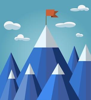 Sucesso ou conceito de liderança com paisagem montanhosa