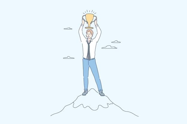 Sucesso, vitória, comemoração, realização dos objetivos, conceito do negócio