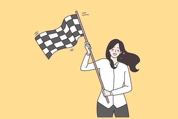Sucesso, vitória empresarial e conceito de celebração. jovem sorridente mulher de negócios em pé acenando uma bandeira quadriculada para celebrar a ilustração vetorial de vitória