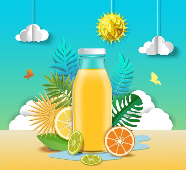 Suco cítrico publicidade cartaz design modelo saudável refrescante fruta bebida anúncios vetor papel c ...