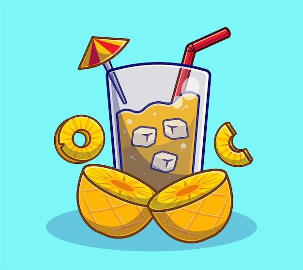 Suco de abacaxi com desenho de abacaxi de fatia. conceito de bebida de frutas de verão plano